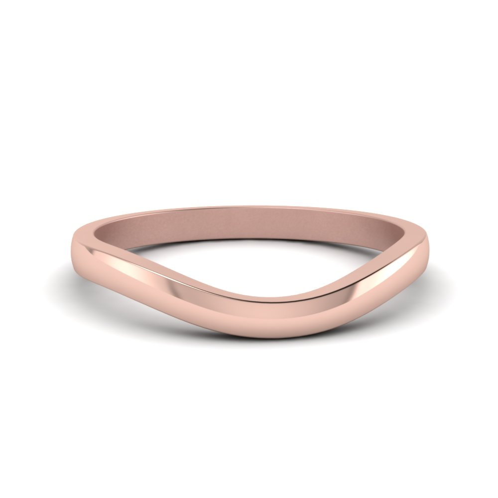Plain Curved Wedding Band In 14K Rose Gold
