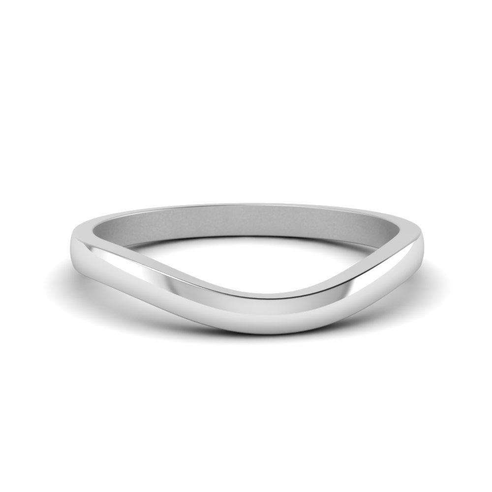 Plain Curved Wedding Band In 14K White Gold