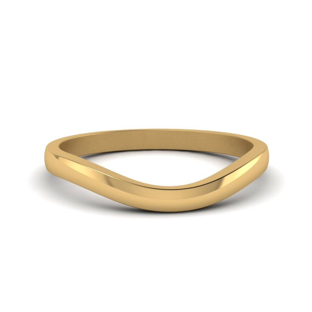 plain curved wedding band in 14K yellow gold FDENS2255B3 NL YG