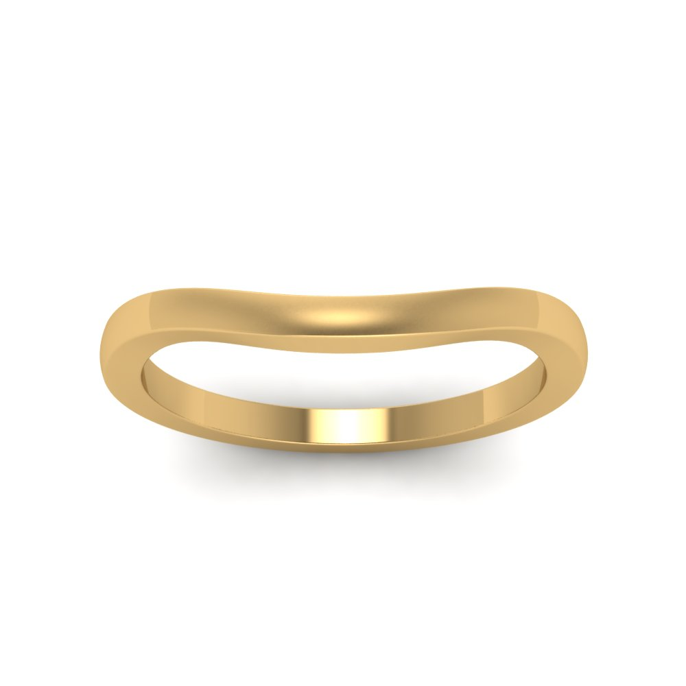 Plain Curved Wedding Band In 14K Yellow Gold Fascinating Diamonds