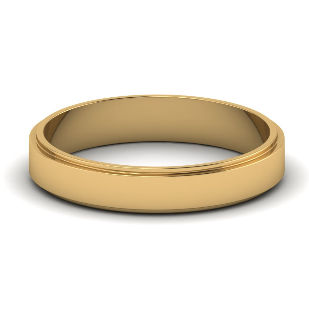 Plain Womens Wedding Band 4 Mm In 18k Yellow Gold Fascinating Diamonds