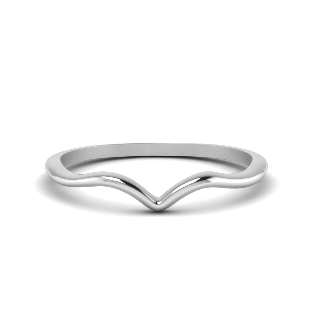 plain thin curved wedding band in FD8300B NL WG