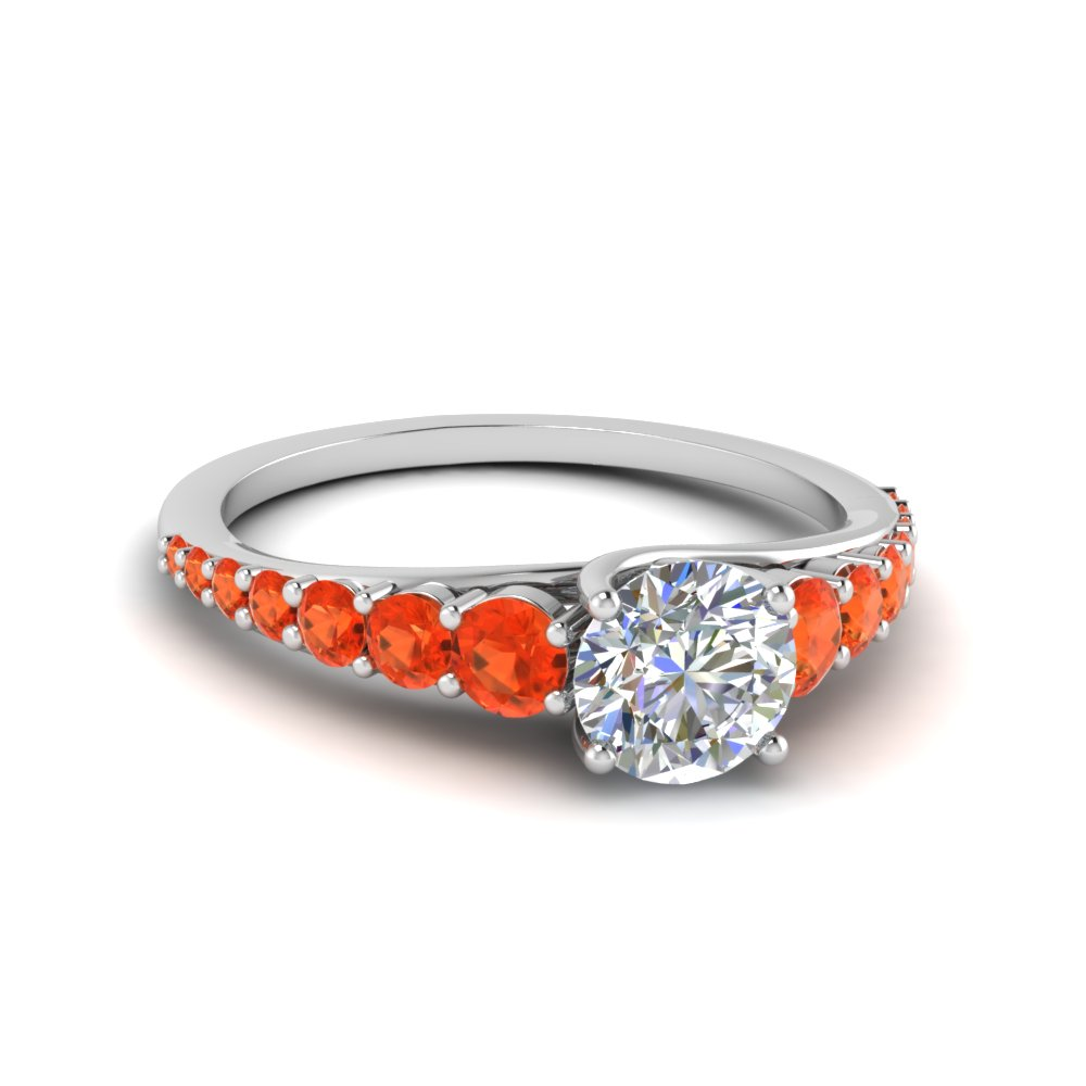 orange topaz trellis graduated diamond engagement ring in FDENR9450RORGPOTO NL WG GS