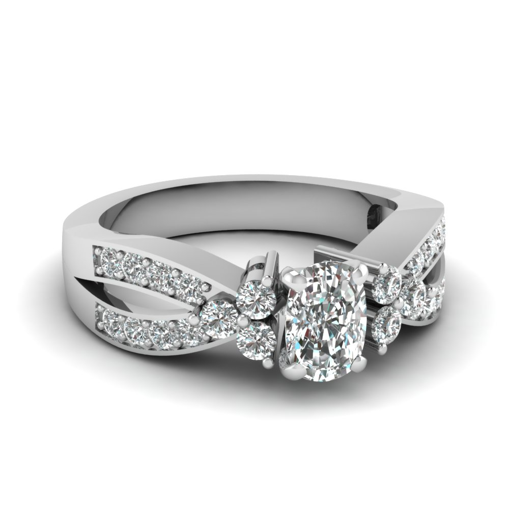 preset intertwined pave 1.25 ct. diamond engagement ring in 14K white gold FDENR2754CUR NL WG