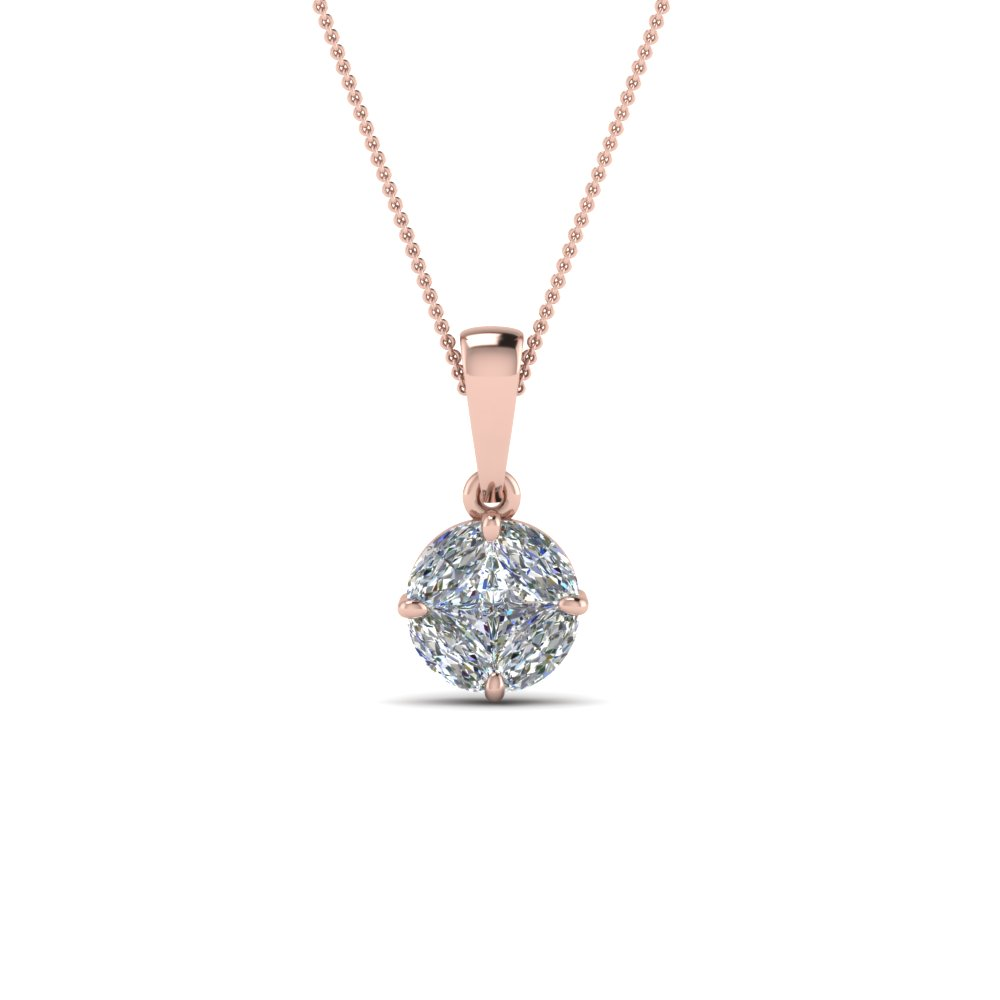 Pressure Set Solitaire Diamond Pendant