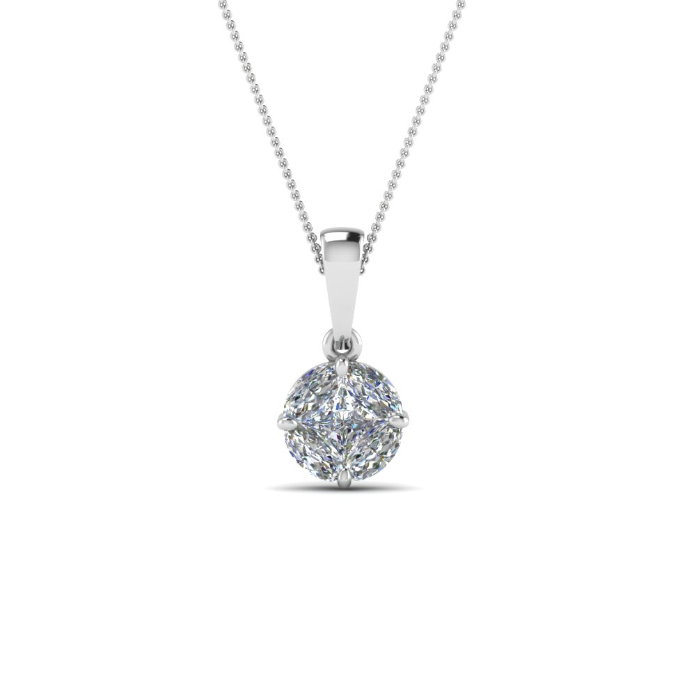 Pressure Set Solitaire Diamond Pendant In 14K White Gold