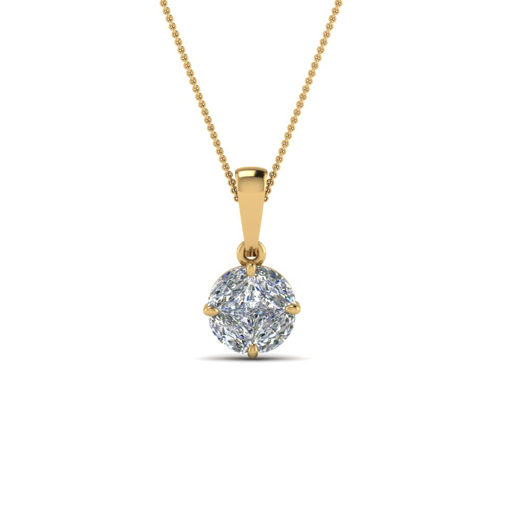 pressure set solitaire diamond pendant in 14k yellow gold. Black Bedroom Furniture Sets. Home Design Ideas