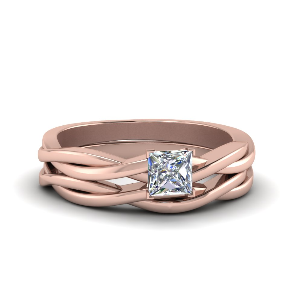 princess cut simple vine solitaire bridal ring set in 14K rose gold FD8252PR NL RG