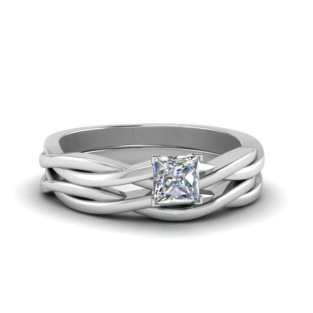 Charming Princes Cut Simple Vine Solitaire Bridal Ring Set In FD8252PR NL WG