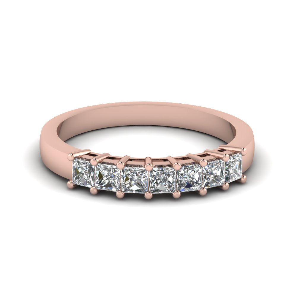 princess 7 stone wedding anniversary band in 14K rose gold FDENS1027B NL RG