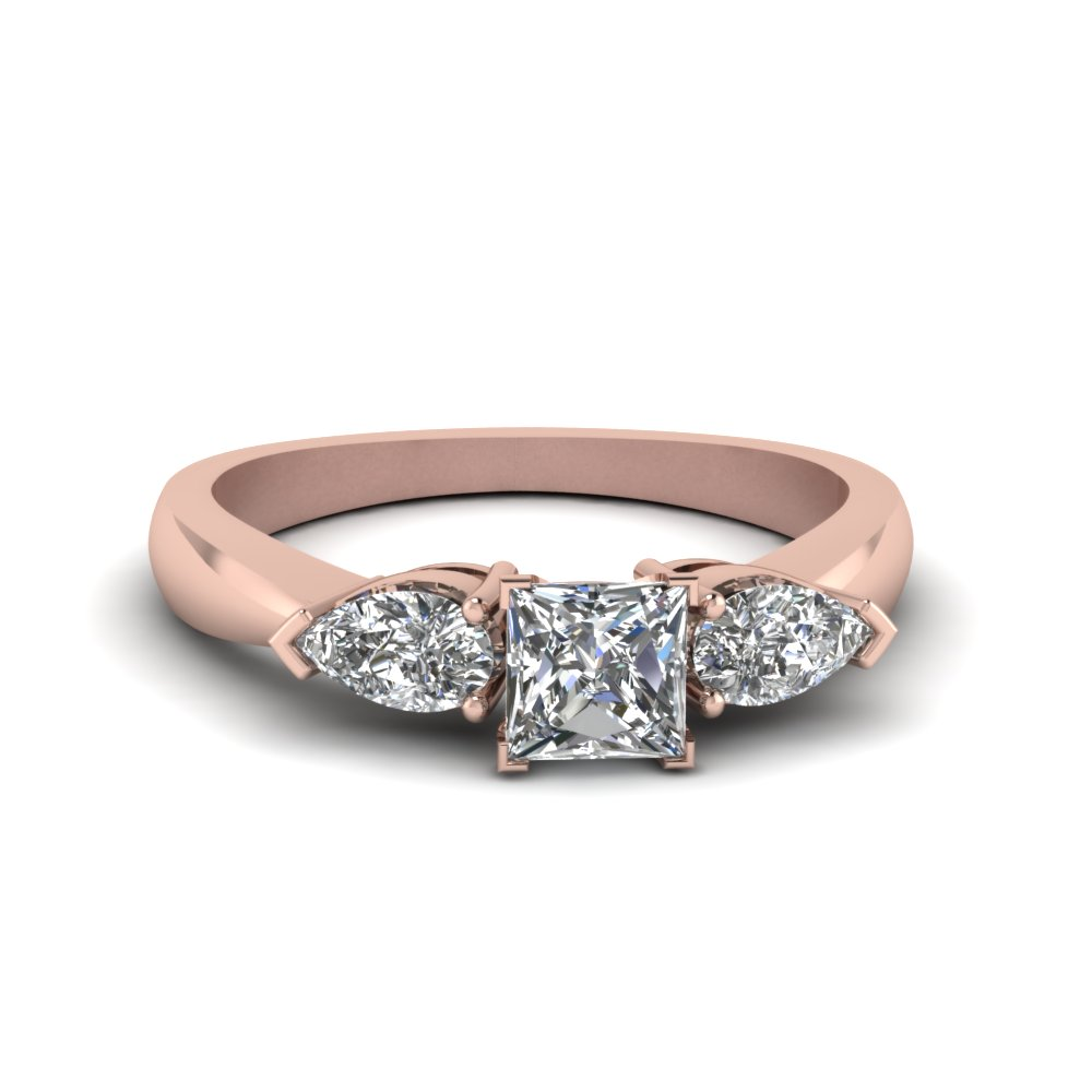 Princess & Pear Diamond Ring