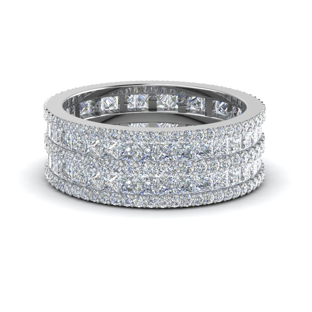 Princess And Round Diamond Band