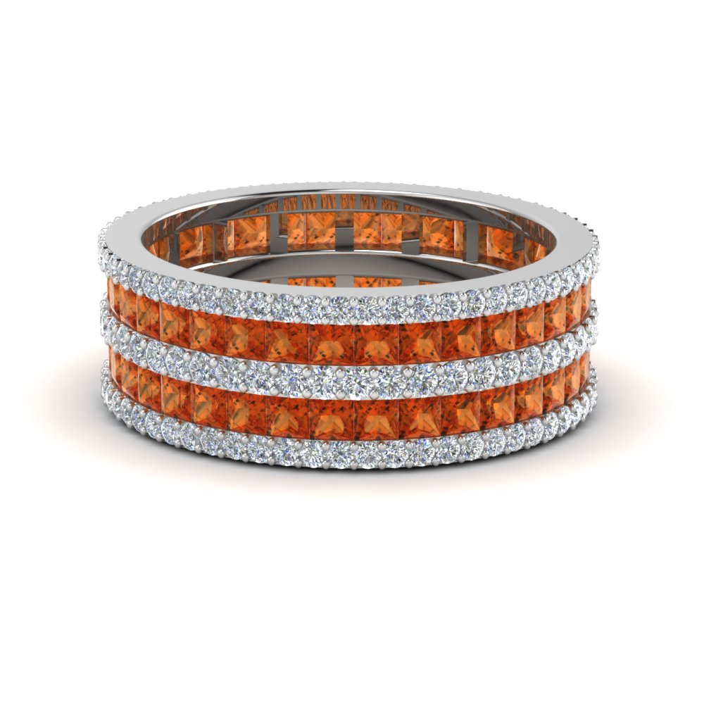 princess and round diamond eternity band with orange sapphire in FDEWB8404BGSAOR NL WG