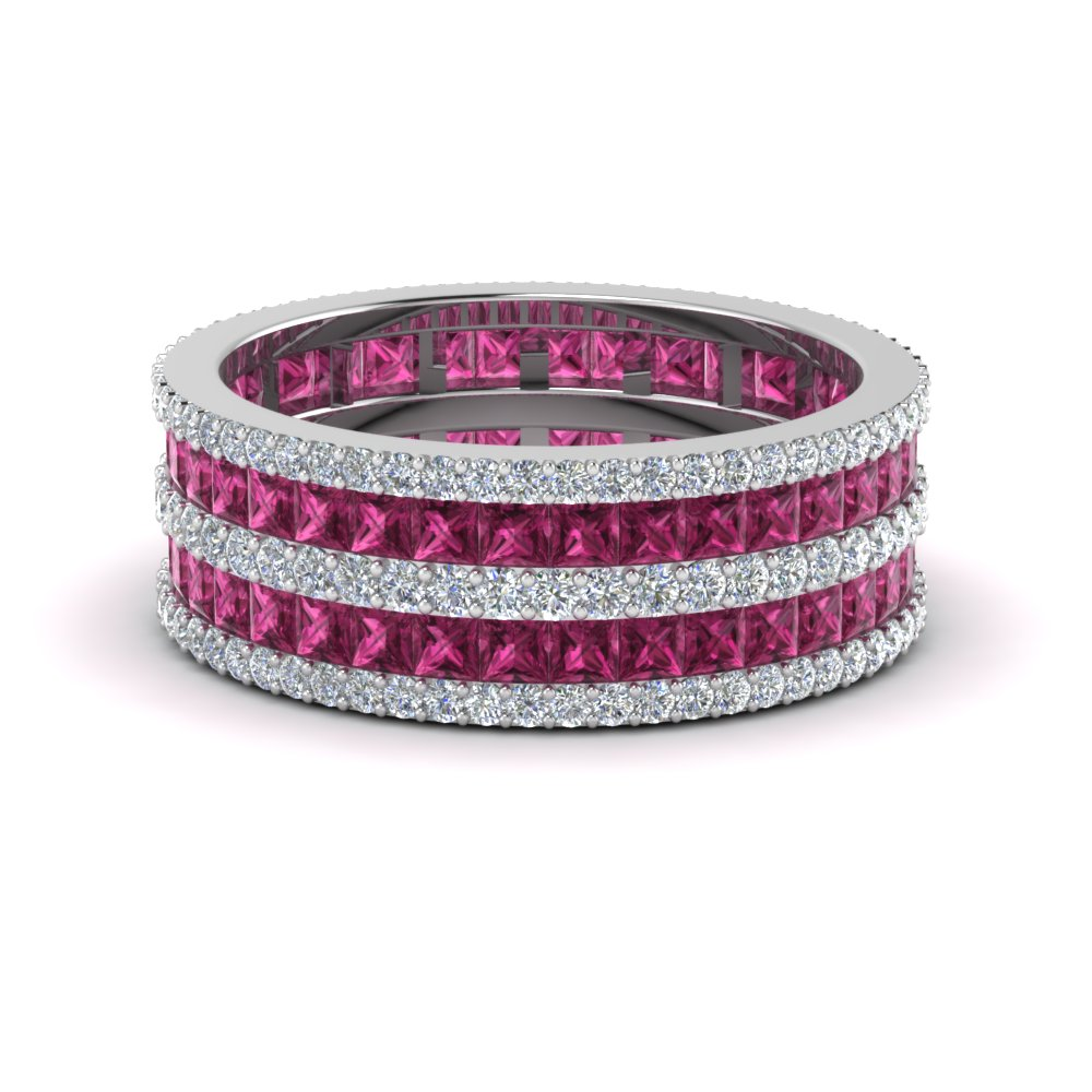 princess and round diamond eternity band with pink sapphire in FDEWB8404BGSADRPI NL WG