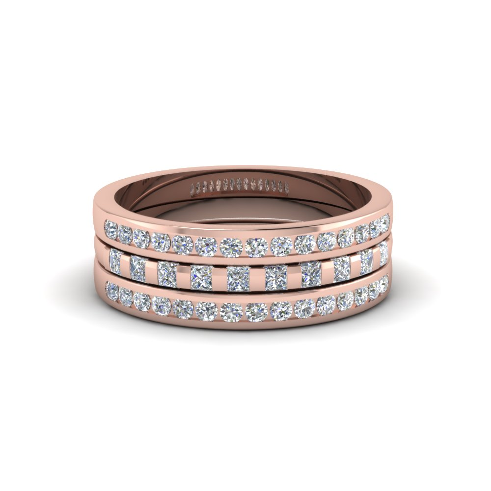princess and round diamond womens wedding stackable band ring in 14K rose gold FD8050B NL RG
