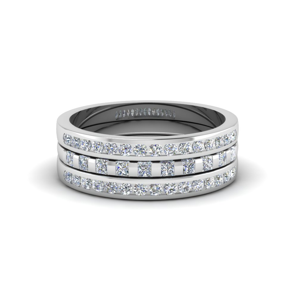 87e561addc49 princess and round diamond womens wedding stackable band ring in 950  Platinum FD8050B NL WG
