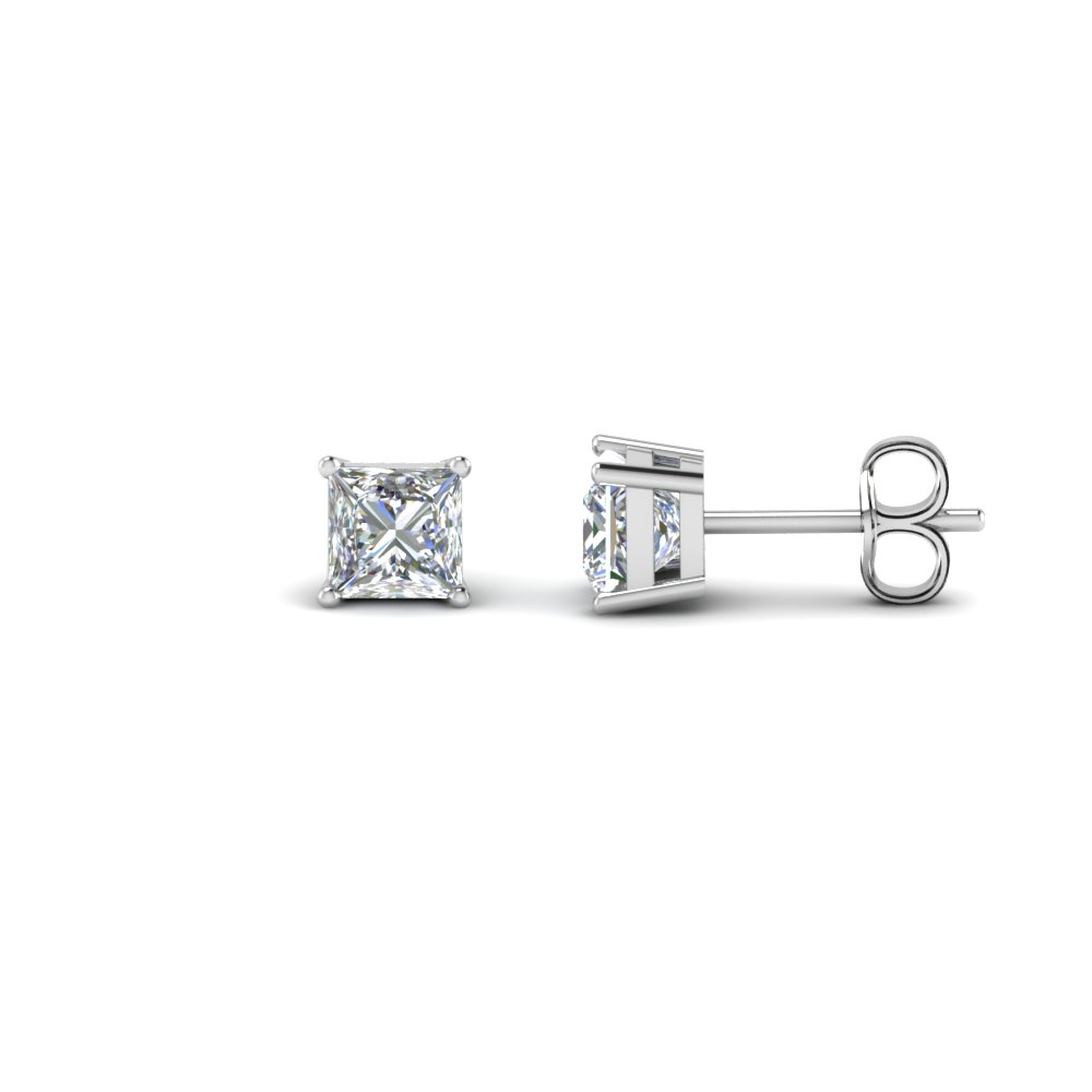 Princess Cut 1 Carat Diamond Earrings In 14k White Gold Fdear4pr0 50ct Nl Wg