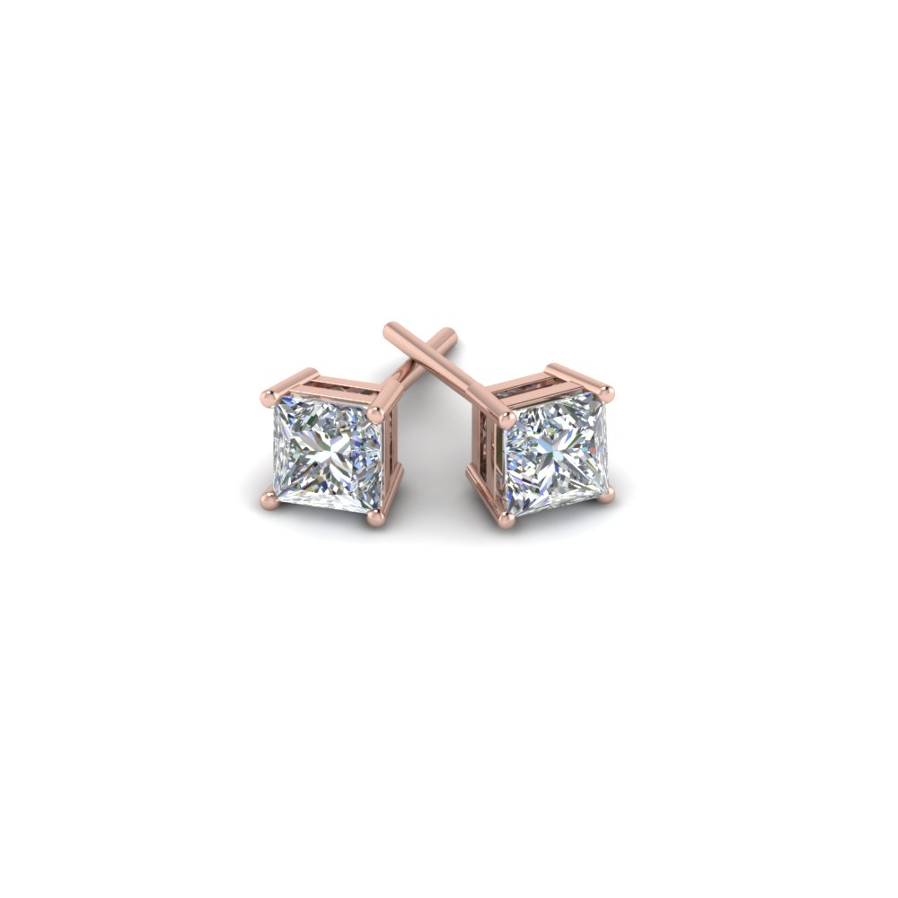 Princess Cut 2 Carat Diamond Earrings In 14k Rose Gold Fdear4t Nl Rg Add To Cart Sku Fdear4pr1