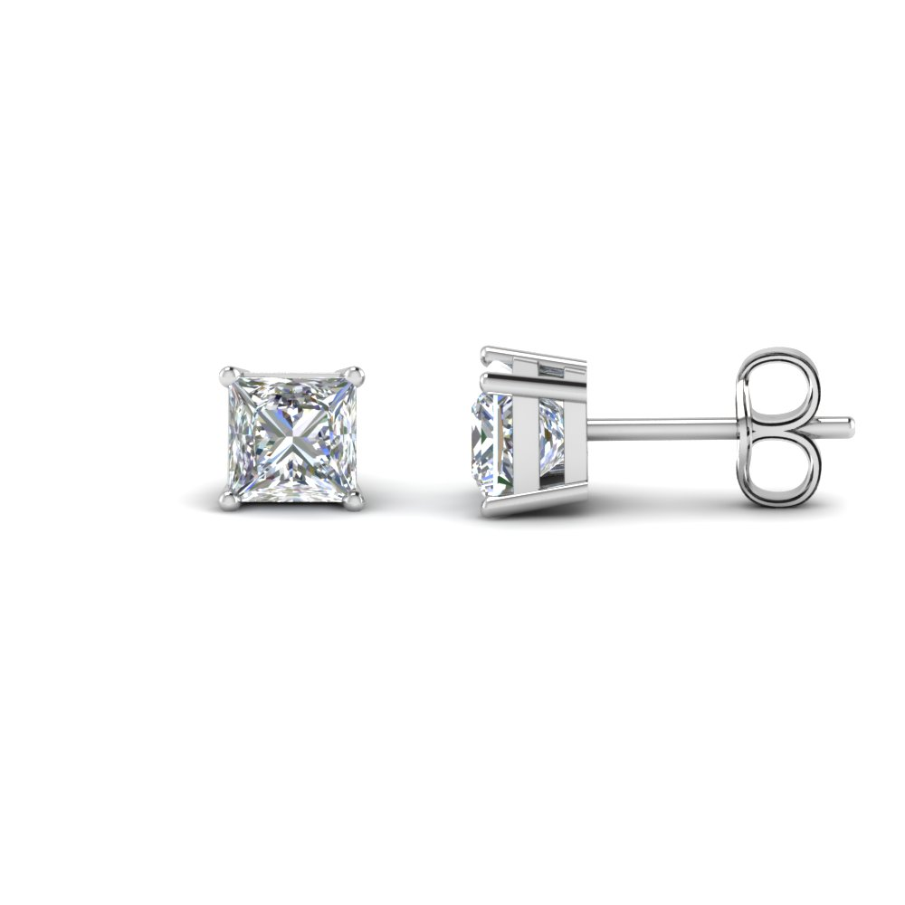 Princess Cut 2 Carat Diamond Earrings In 14k White Gold Fdear4t Nl Wg