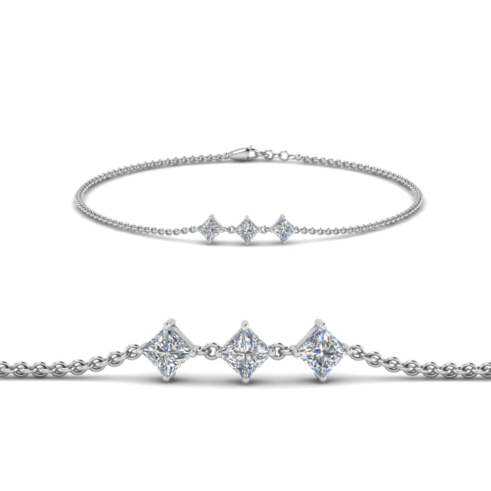princess cut 3 stone bracelet in FDBRC8651PRANGLE1 NL WG