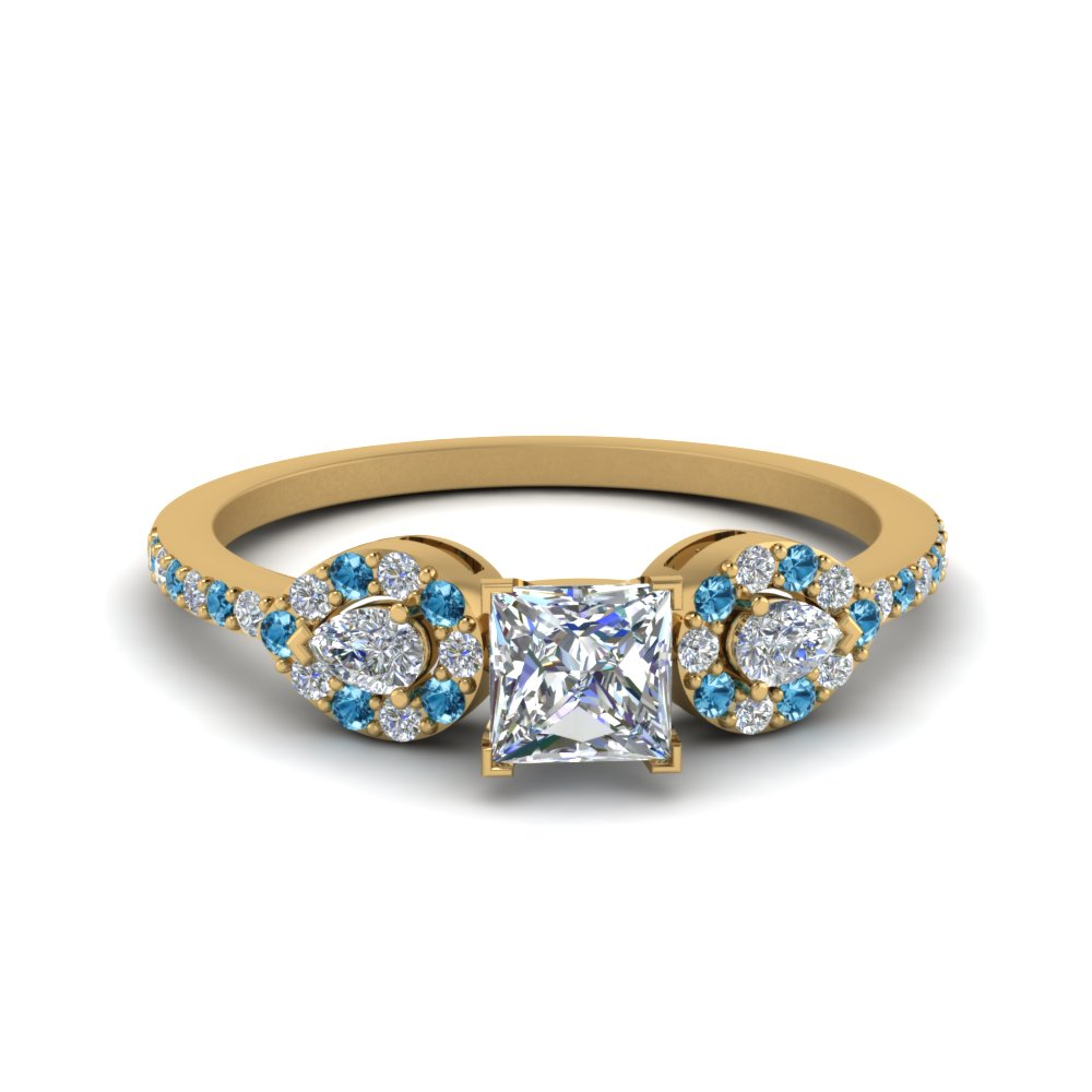 Princess Cut 3 Stone Diamond Halo Engagement Ring With Blue Topaz In 14K Yellow Gold