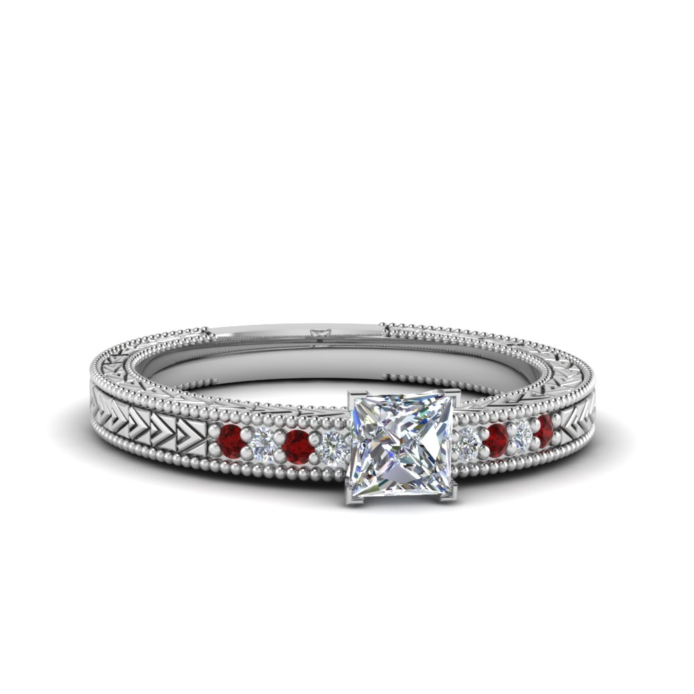 White Gold Princess Cut Milgrain Engagement Rings