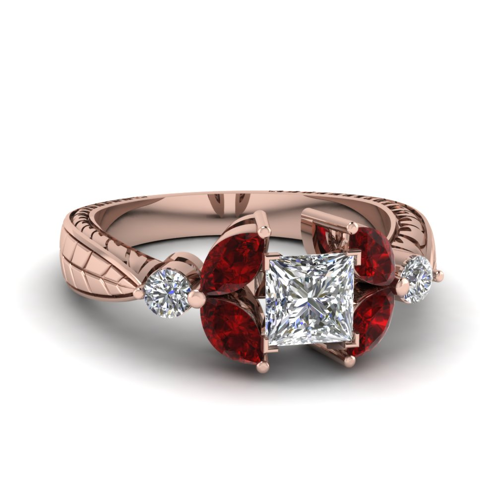 princess cut antique petal diamond engagement ring with ruby in FDENR2562PRRGRUDR NL RG