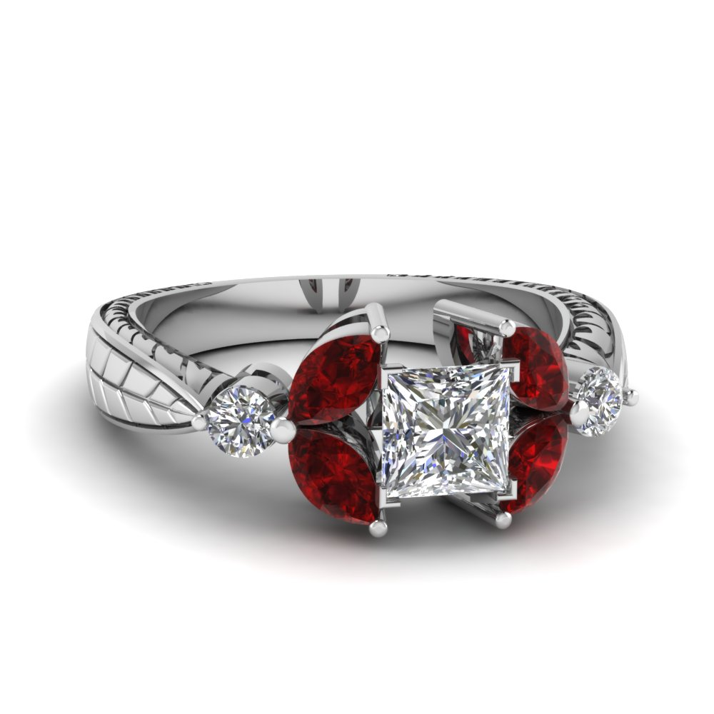 Platinum Art Deco Ruby Ring