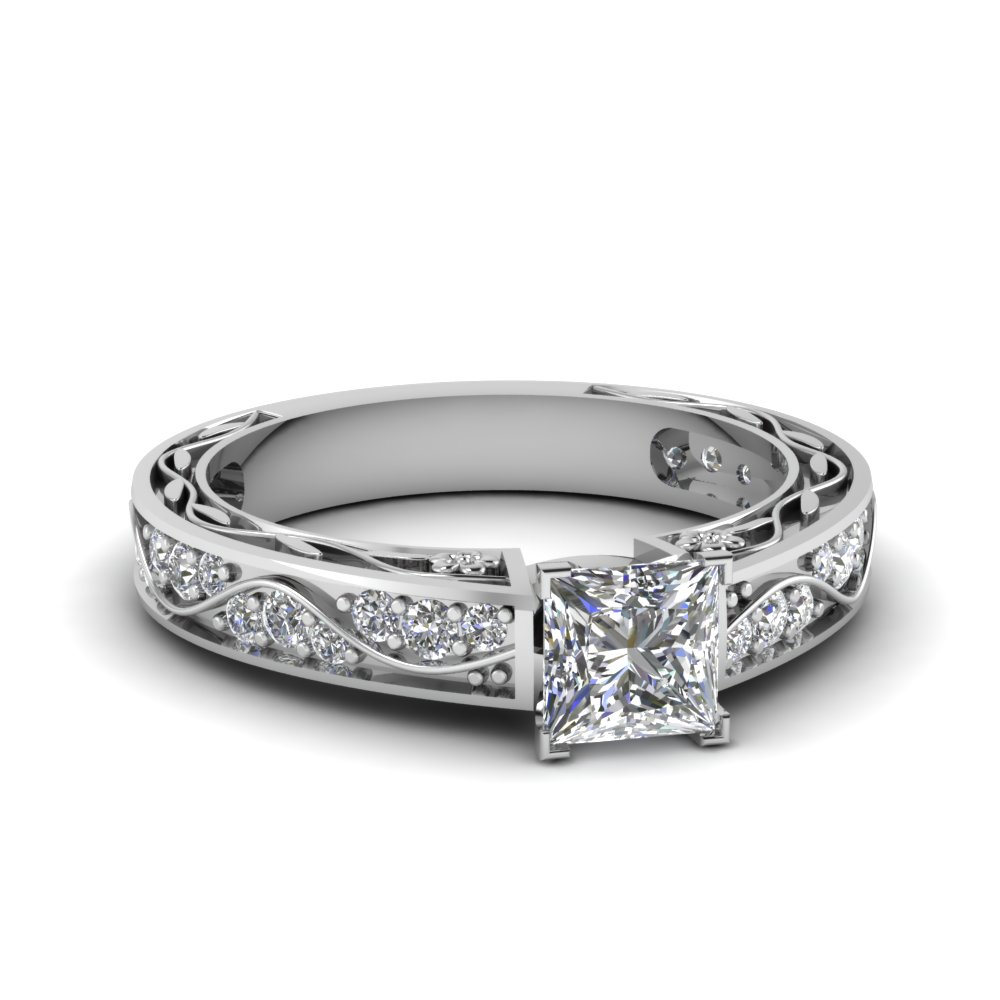 Princess Cut Diamond Filigree Ring