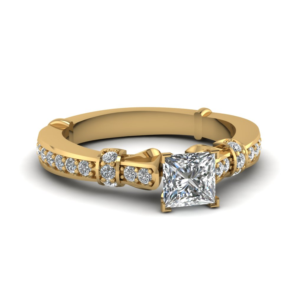 Princess Cut Gold Petite Rings