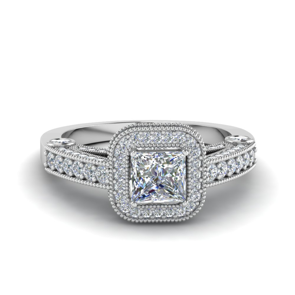 Princess Antique cut engagement rings