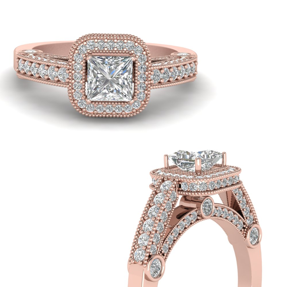 princess cut antique square halo diamond engagement ring in FDENR6310PRRANGLE3 NL RG