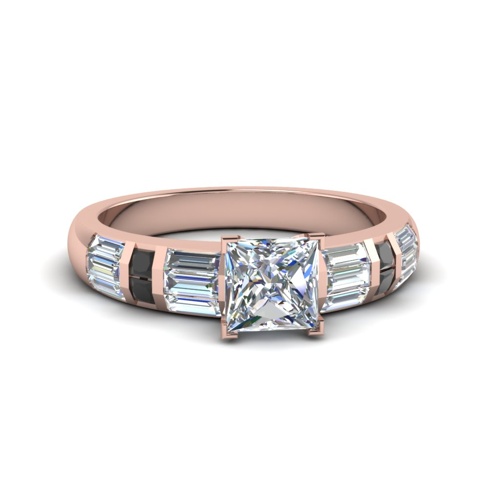 71da3ac94 princess cut baguette and princess accent engagement ring with black diamond  in FDENR2615PRRGBLACK NL RG