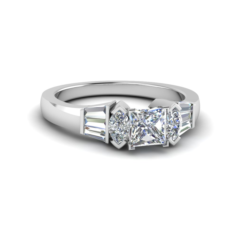 Princess Cut Side Stone Rings