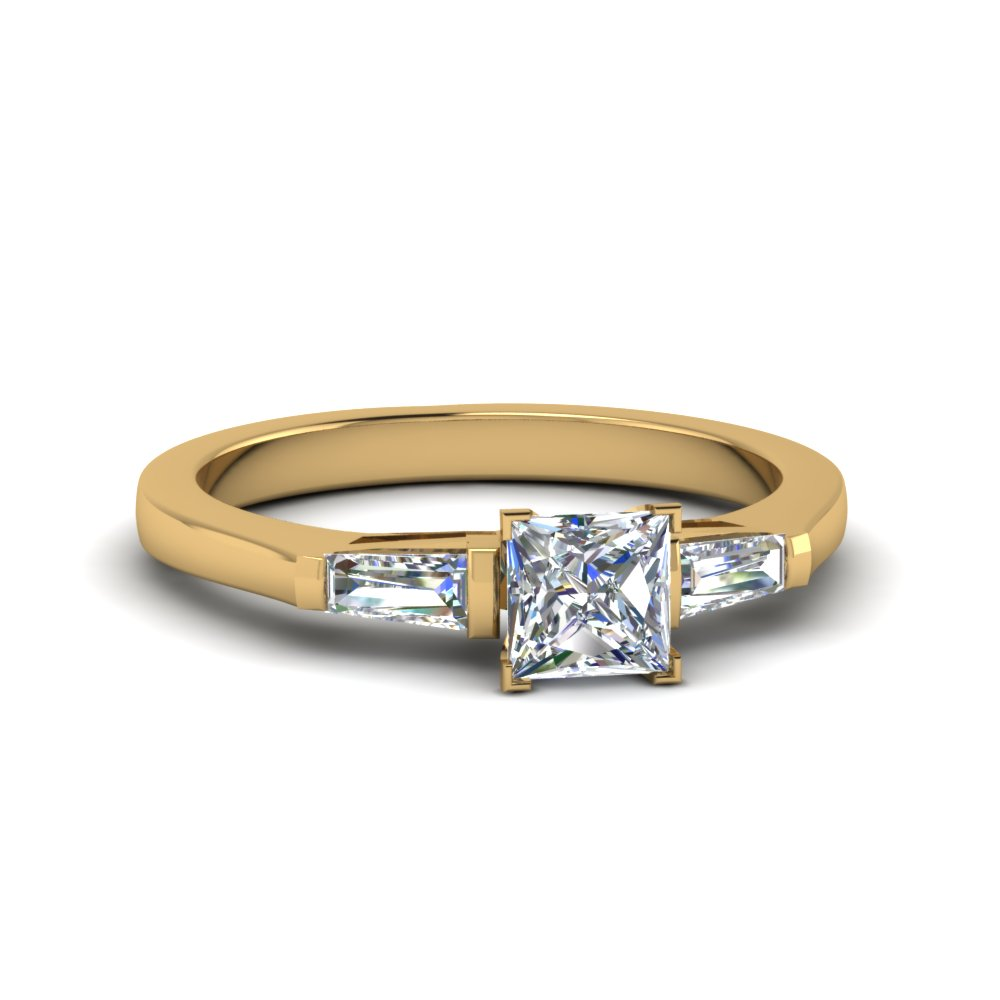 princess cut 3 stone engagement ring in 14K yellow gold FDENS100PRR NL YG