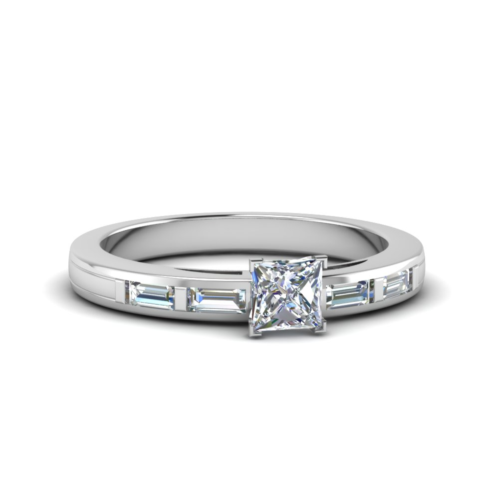 princess cut bar baguette diamond simple engagement ring