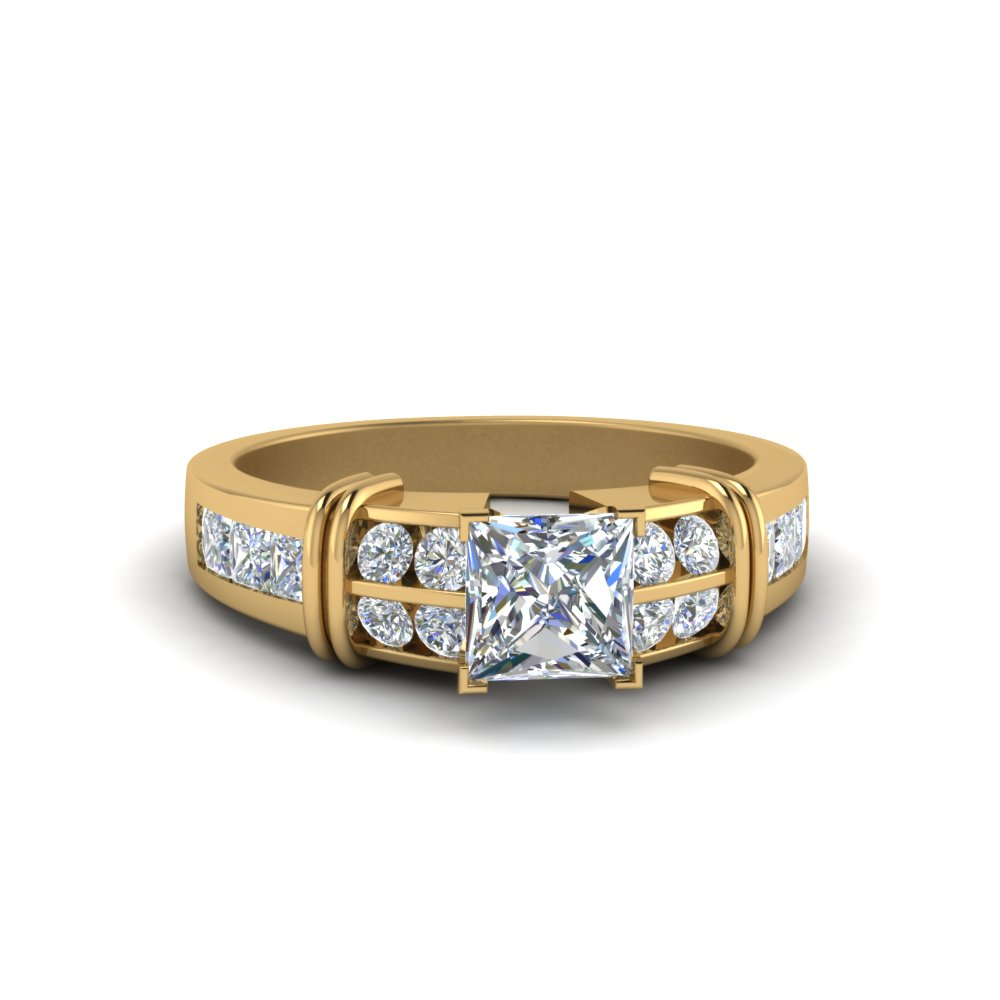 princess cut bar channel set diamond engagement ring in 14K yellow gold FDENR2191PRR NL YG