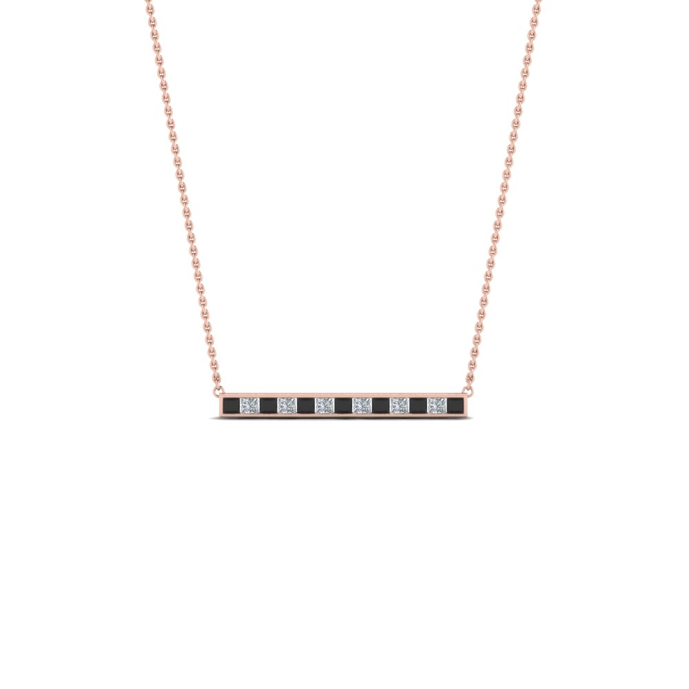 Princess Cut Diamond Bar Necklace