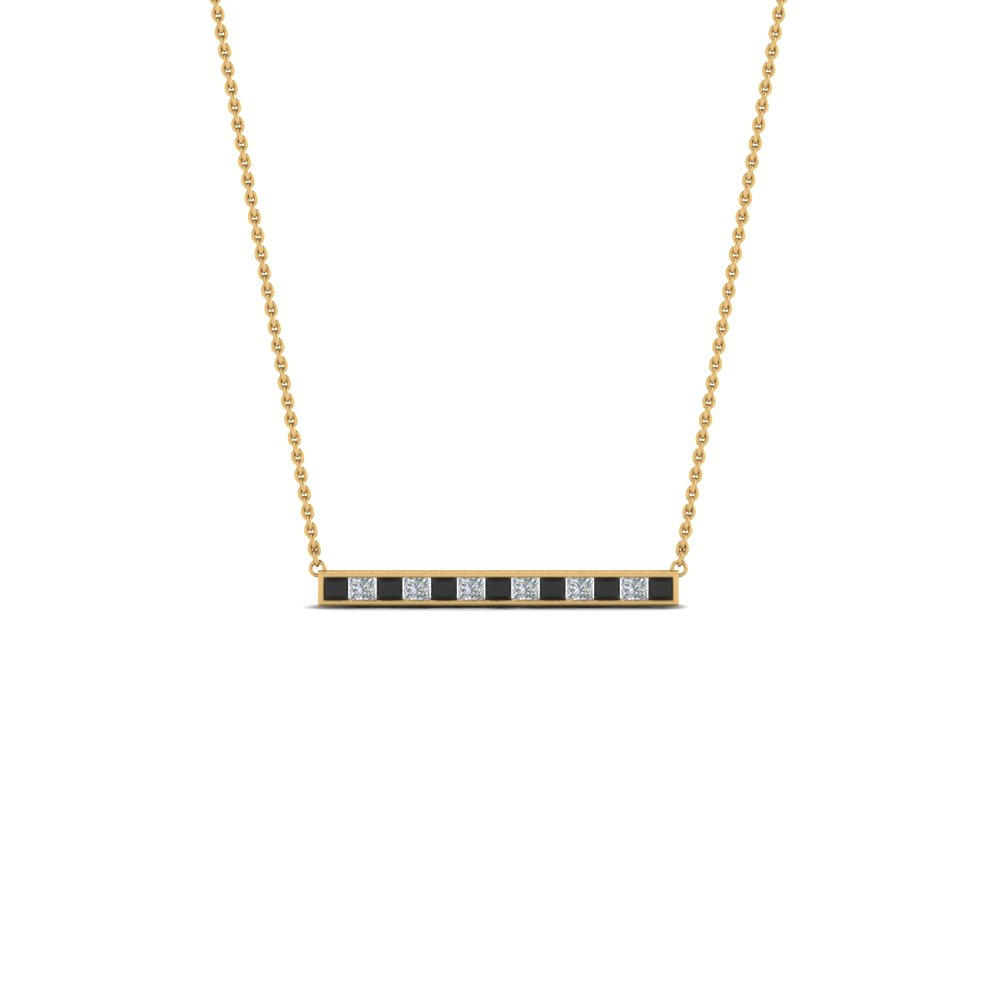 Princess Cut Black Diamond Bar Necklace