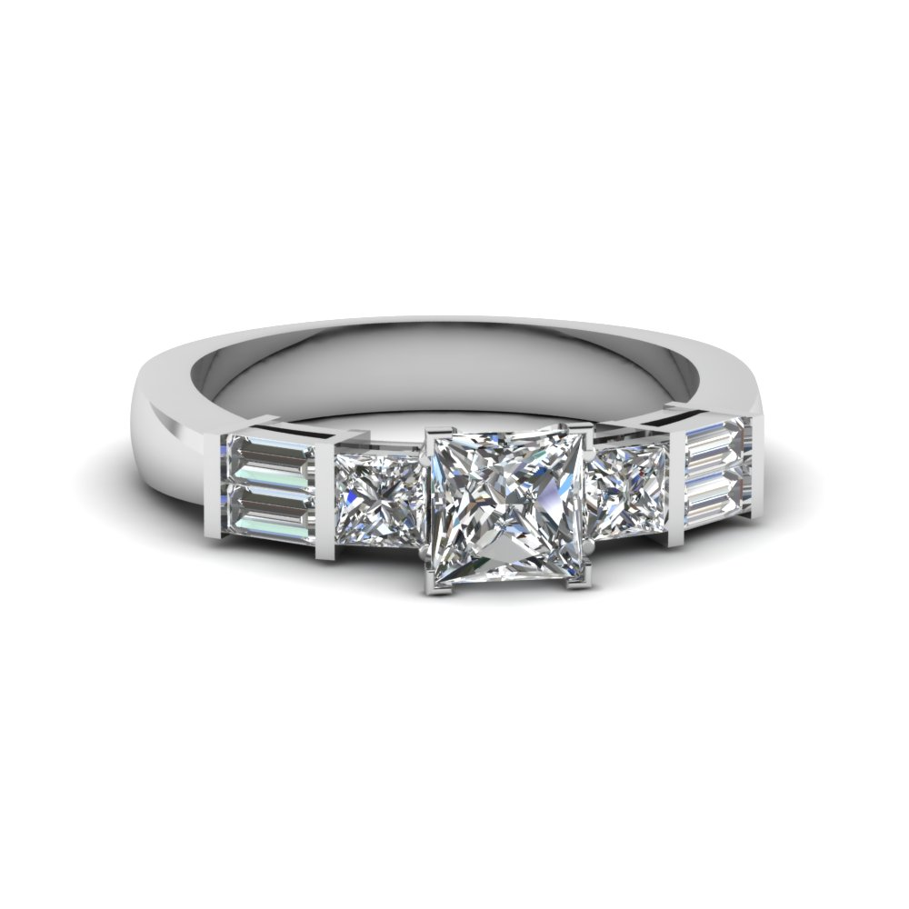 princess cut bar set baguette and princess diamond engagement ring in 14K white gold FDENS343PRR NL WG