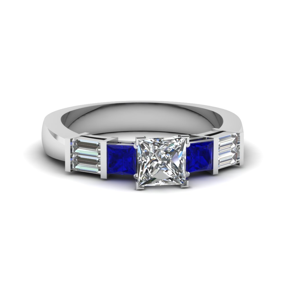 princess cut bar set baguette and princess diamond engagement ring with blue sapphire in 18K white gold FDENS343PRRGSABL NL WG