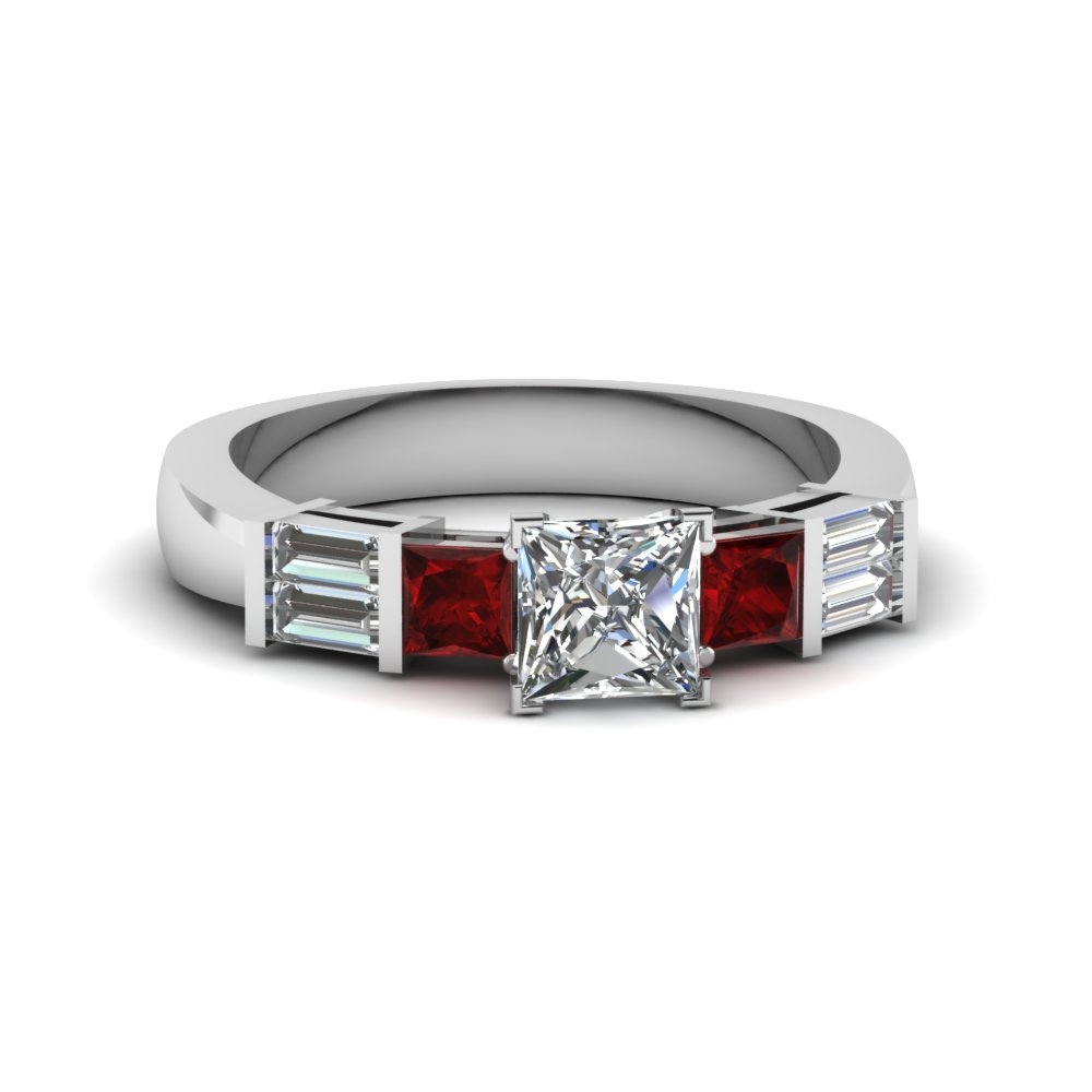 princess cut bar set baguette and princess diamond engagement ring with ruby in 14K white gold FDENS343PRRGRUDR NL WG