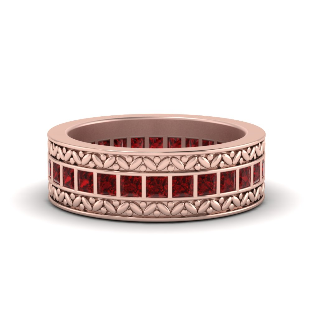 Engraved Band With Ruby