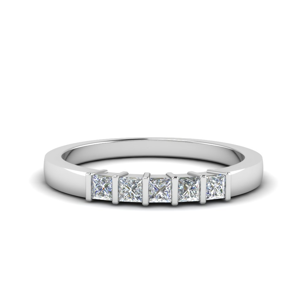 princess cut bar wedding band in FDWB314B NL WG