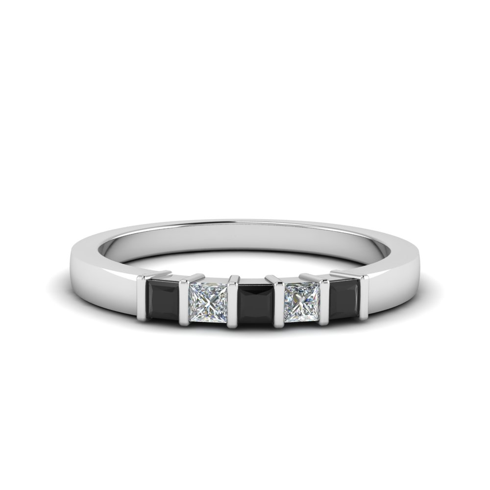 princess cut bar wedding band with black diamond in FDWB314BGBLACK NL WG