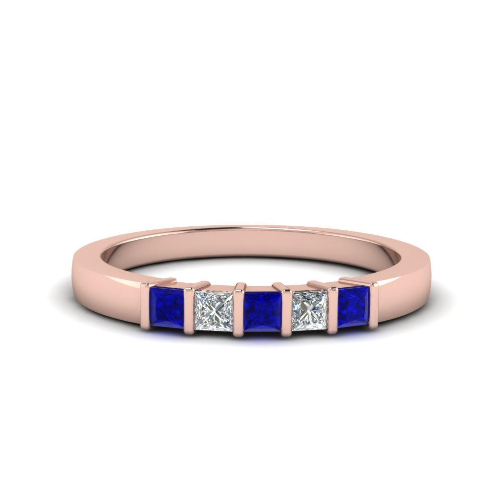 princess cut bar wedding band with blue sapphire in FDWB314BGSABL NL RG
