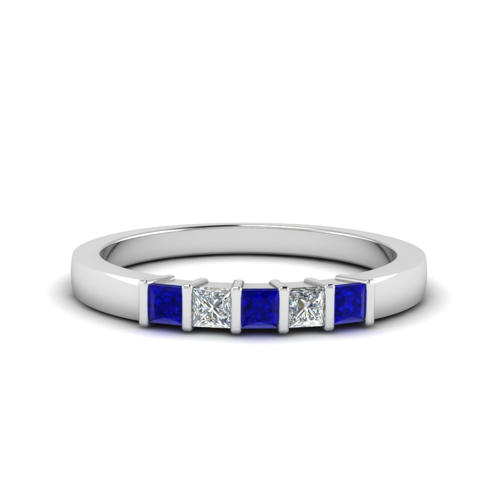 princess cut bar wedding band with blue sapphire in FDWB314BGSABL NL WG