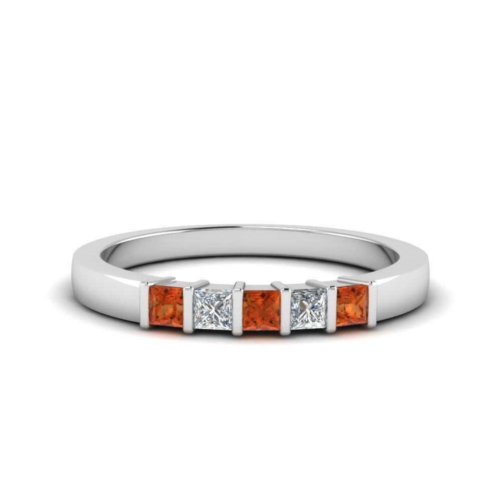 Princess Cut Wedding Bar Band