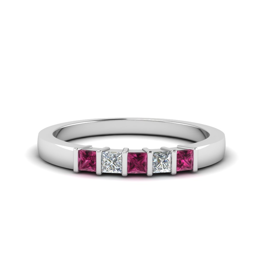 Princess Cut Bar Wedding Band