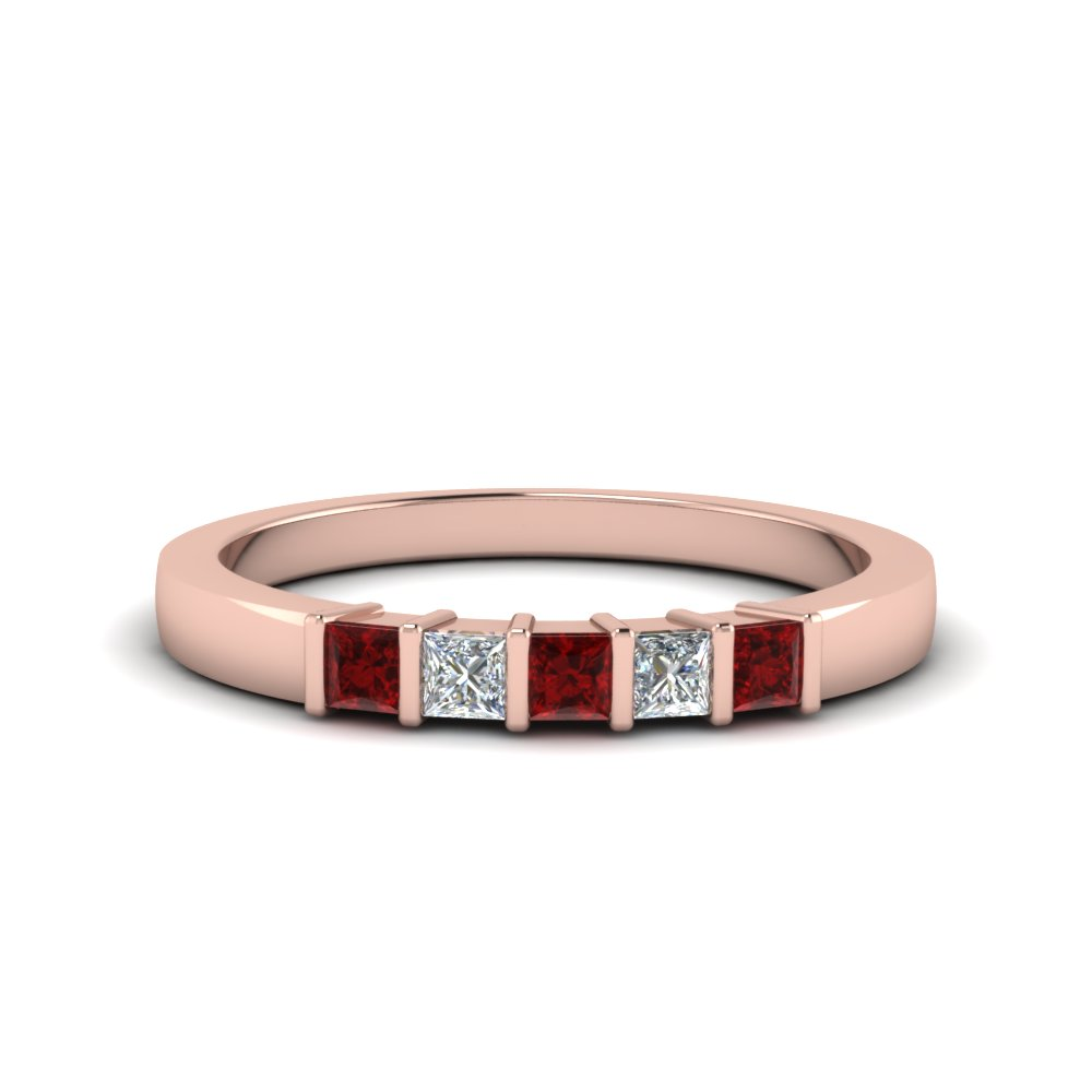 Princess Cut Diamond Bar Set Band